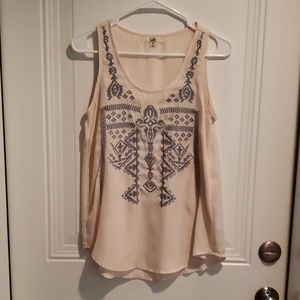Embroidered Flowy Tank Top